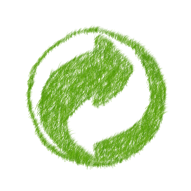 hand-drawn recycle symbol in green