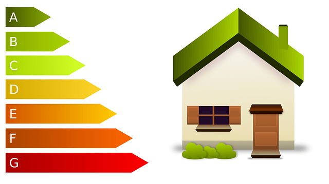 cartoon graphic of a green-roofed house with ribboned tabs on the side increasing in size as they travel down the left hand side of the image and with a gradient of olive green to bright red